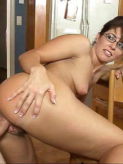 Horny young mom fucks her sons friend in the kitchen
