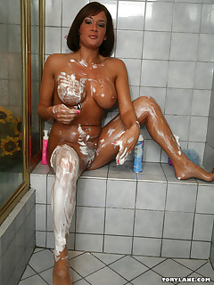 Tory Lane shaves in the shower before touching herself in these pics