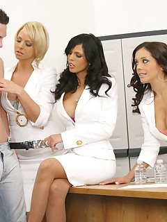3 amaing milfs play with a young boy toy in these hot stripping masterbation and milf pussy fucking pics