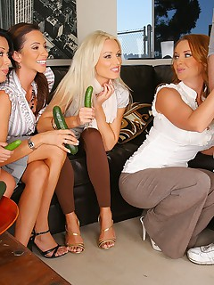 3 hot ass milfs give lessons on how to suck cock with cucumbers then demonstate on a real big cock dude in these hot 4some masterbation fucking big hd video and pics