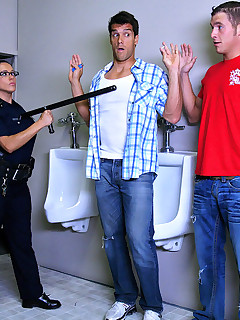 2 hot ass police babes bust some pot smokers in the bathroom in these hot fucking bathroom group sex foursome fucking cumfaced hot ass pics