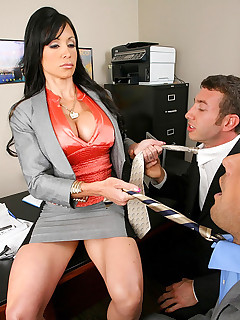 Amazing hot black mini skirt office babe gets drilled in the ass on her desk in these hot cumfaced pics