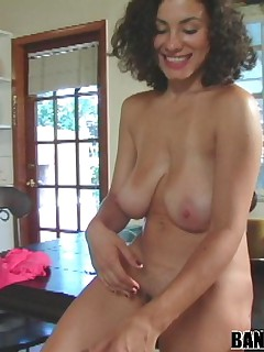 Gorgeous amateur uses her huge tits to get a guy off