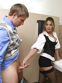 These two coworkers fucked in the bathroom of their job then she took a big load in her mouth