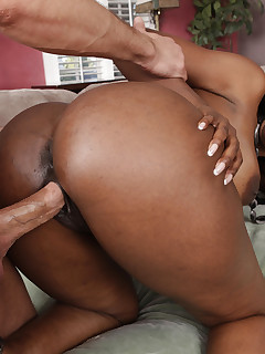 Gorgeous busty ebony Nyomi Banxxx has intense rough sex with one of her sons friends
