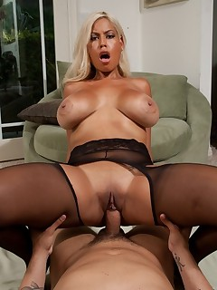 Busty blonde housewife Bridgette satisfies her husbands thick cock